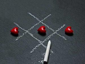 Luffarschack med hjärtan
